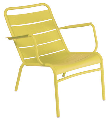 Furniture - Armchairs - Luxembourg Low armchair by Fermob - lemon - Lacquered aluminium