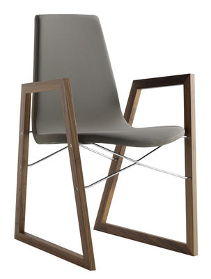 Furniture - Chairs - Ray Padded armchair - Ecoleather by Horm - Grey leather / Walnut - Eco leather, Polyurethane foam, Solid walnut