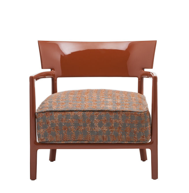 Arredamento - Sedie  - Poltrona imbottita Cara Fancy - / Tessuto di Kartell - Rosso aranciato / Tessuto rosso aranciato & beige - policarbonato, Poliuretano, Tessuto