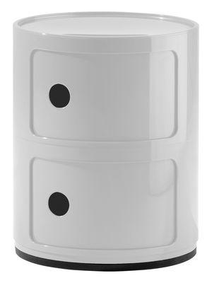Mobilier - Mobilier Ados - Rangement Componibili / 2 tiroirs - H 40 cm - Kartell - Blanc brillant - ABS