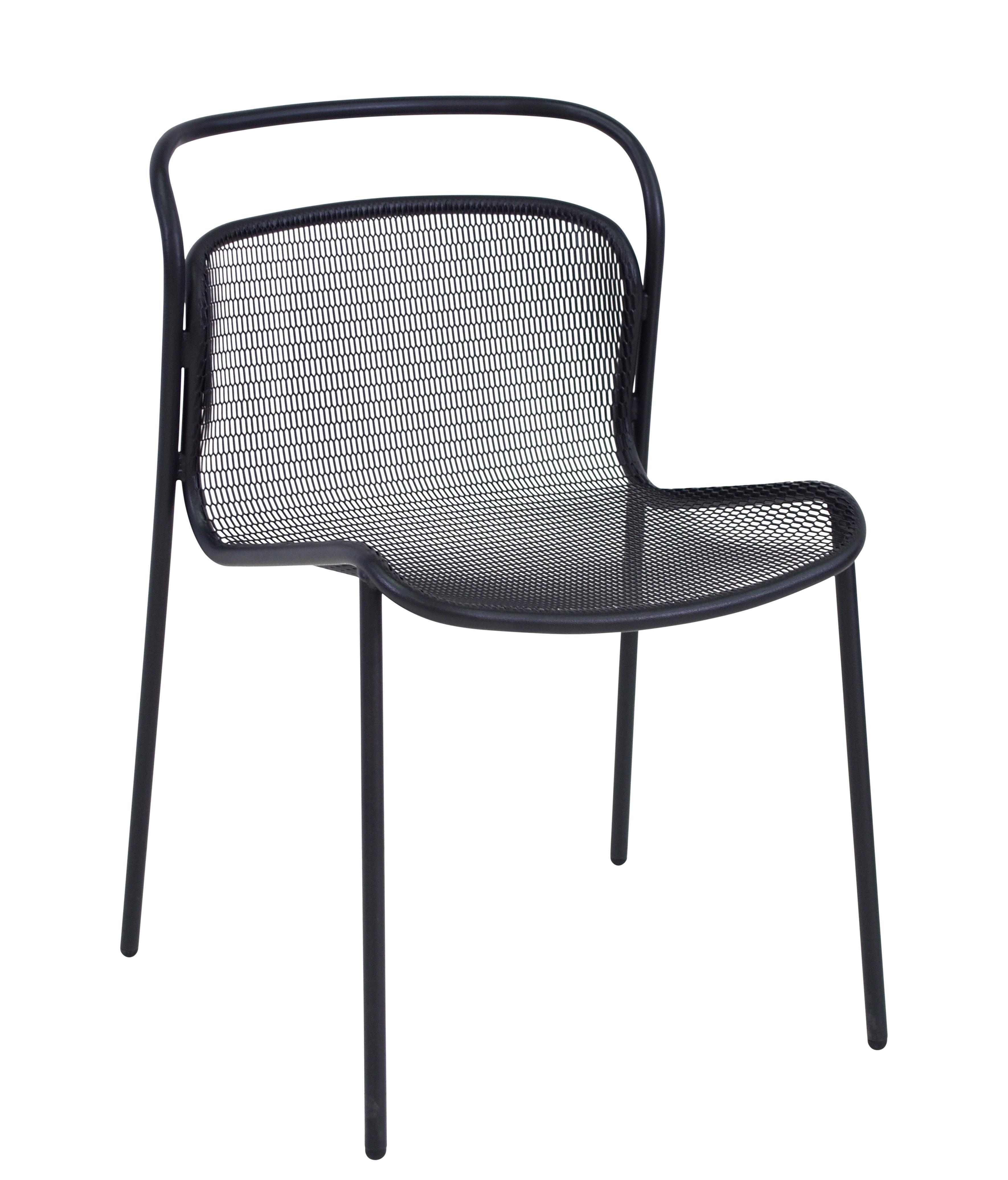 Arredamento - Sedie  - Sedia impilabile Modern - / Metallo di Emu - Nero - Acciaio verniciato