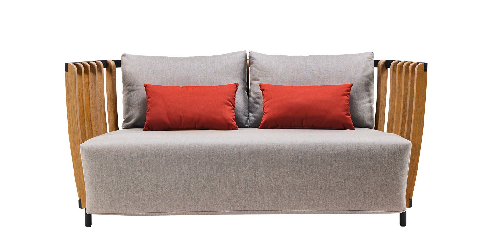 Möbel - Sofas - Swing Sofa / L 166 cm - Ethimo - Schwarz & Teakholz / Stoff grau - lackiertes Aluminium, Polyacryl-Gewebe, Schaumstoff, Teck naturel
