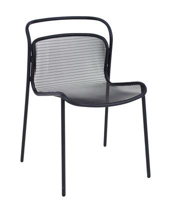 Möbel - Stühle  - Modern Stapelbarer Stuhl / Metall - Emu - Schwarz - gefirnister Stahl