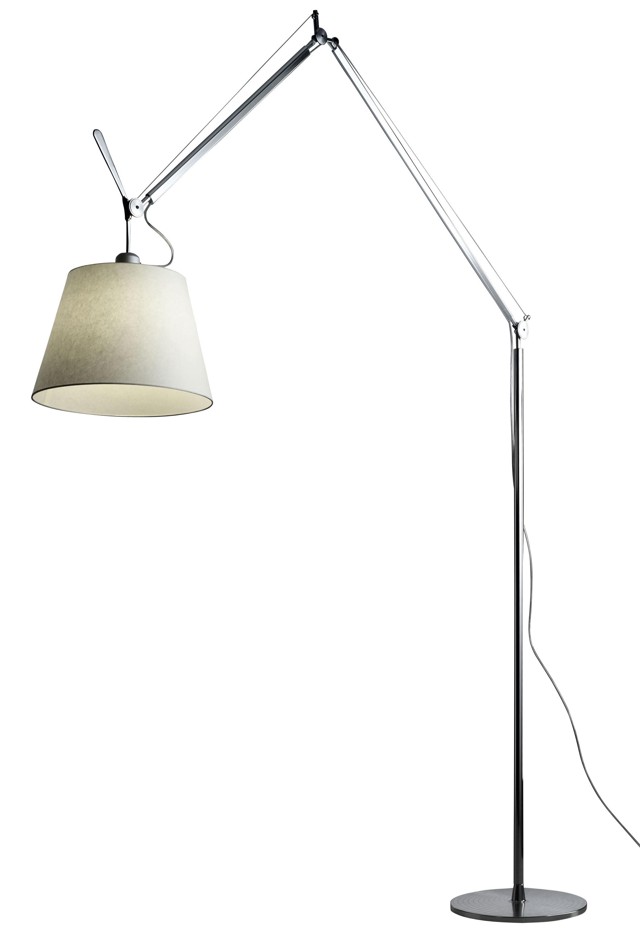Leuchten - Stehleuchten - Tolomeo Mega LED Stehleuchte / H 148 bis 327 cm - Artemide - Lampenschirm Ø 36 cm / naturfarben - Pergamentpapier, poliertes Aluminium