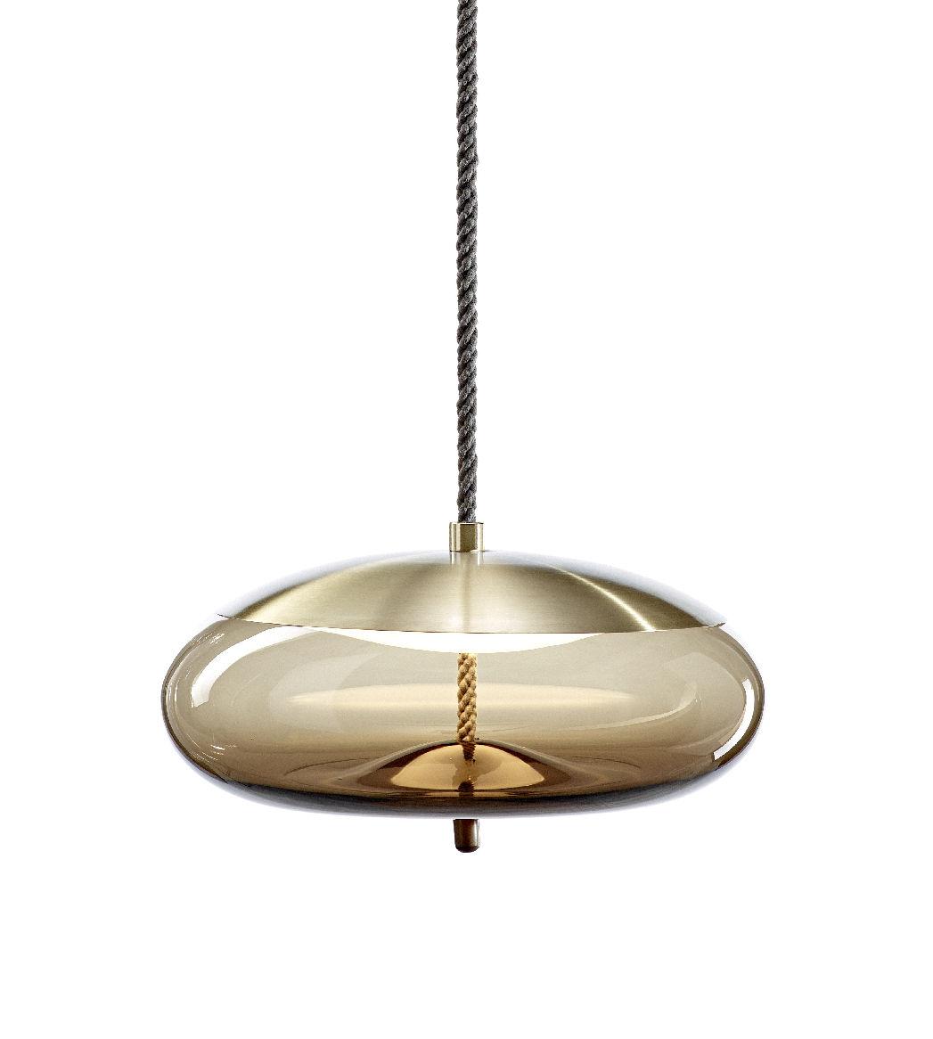 Luminaire - Suspensions - Suspension Knot disco / Verre & corde - Ø 50 x H 25 cm - Brokis - Marron /  Calotte laiton - Corde naturelle, Laiton, Verre soufflé
