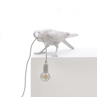 Lighting - Table Lamps - Bird Playing Table lamp - / Playful raven by Seletti - Playful raven / White - Resin