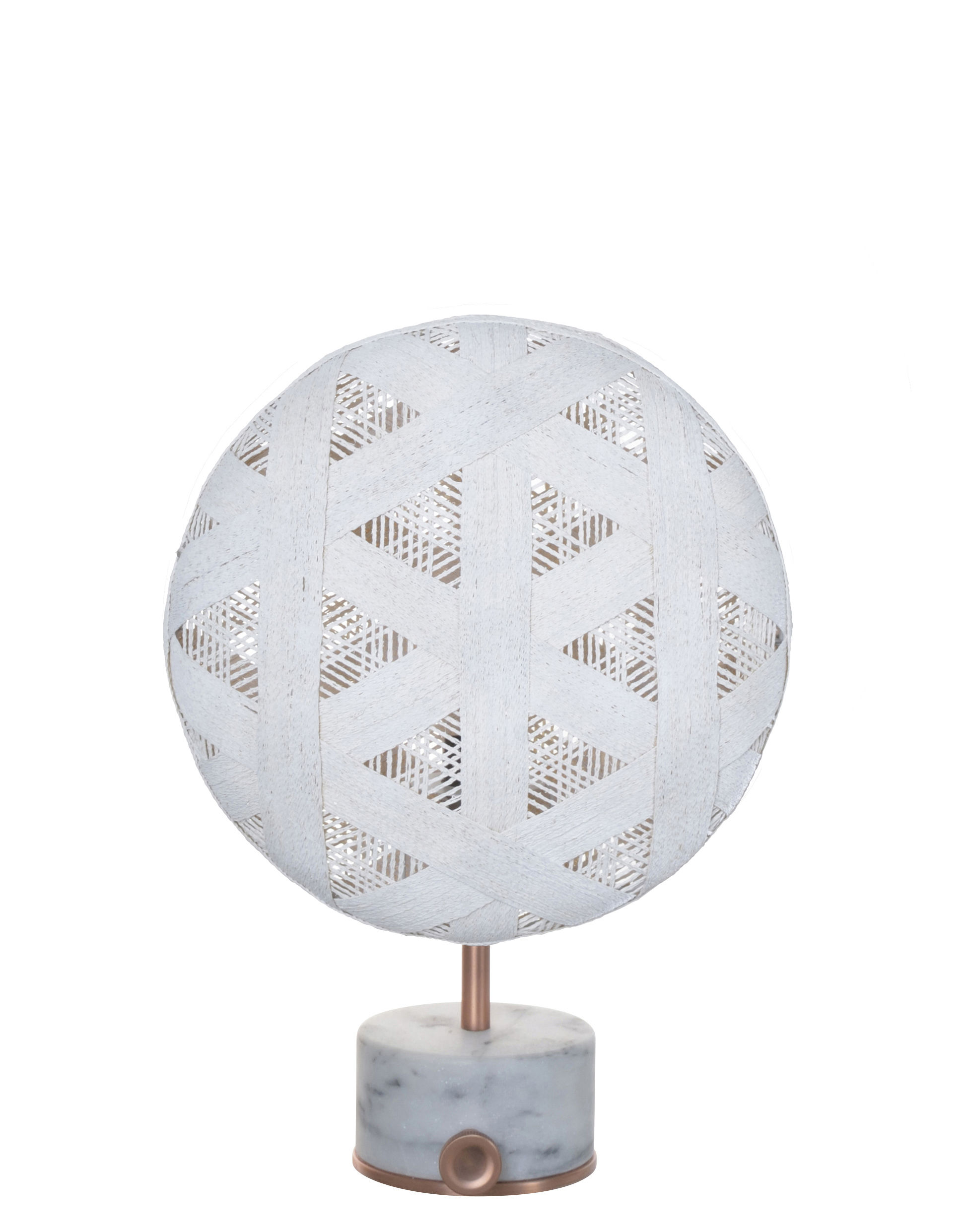 Lighting - Table Lamps - Chanpen Hexagon Table lamp - Ø 26 cm - Triangle patterns by Forestier - White / Copper - Marble, Metal, Woven acaba