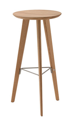 Tabouret de bar Ido / Bois & Metal - H 72 cm - Zanotta chêne naturel,inox satiné en bois