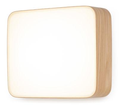 Applique Cube Medium / Plafonnier LED - 25 x 22 cm - Tunto blanc,chêne en bois