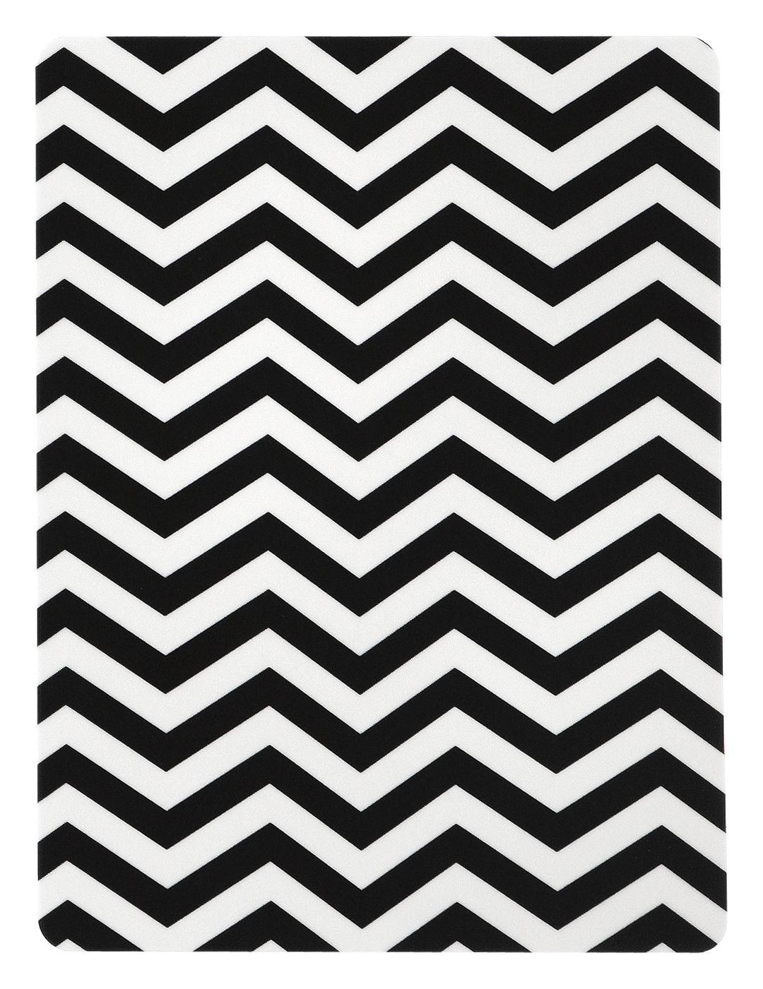 Tavola - Vassoi  - Asse per spalmare Zig Zag - / 15 x 20 cm di Ferm Living - Zig zag / Bianco e nero - Compensato di betulla, Laminato
