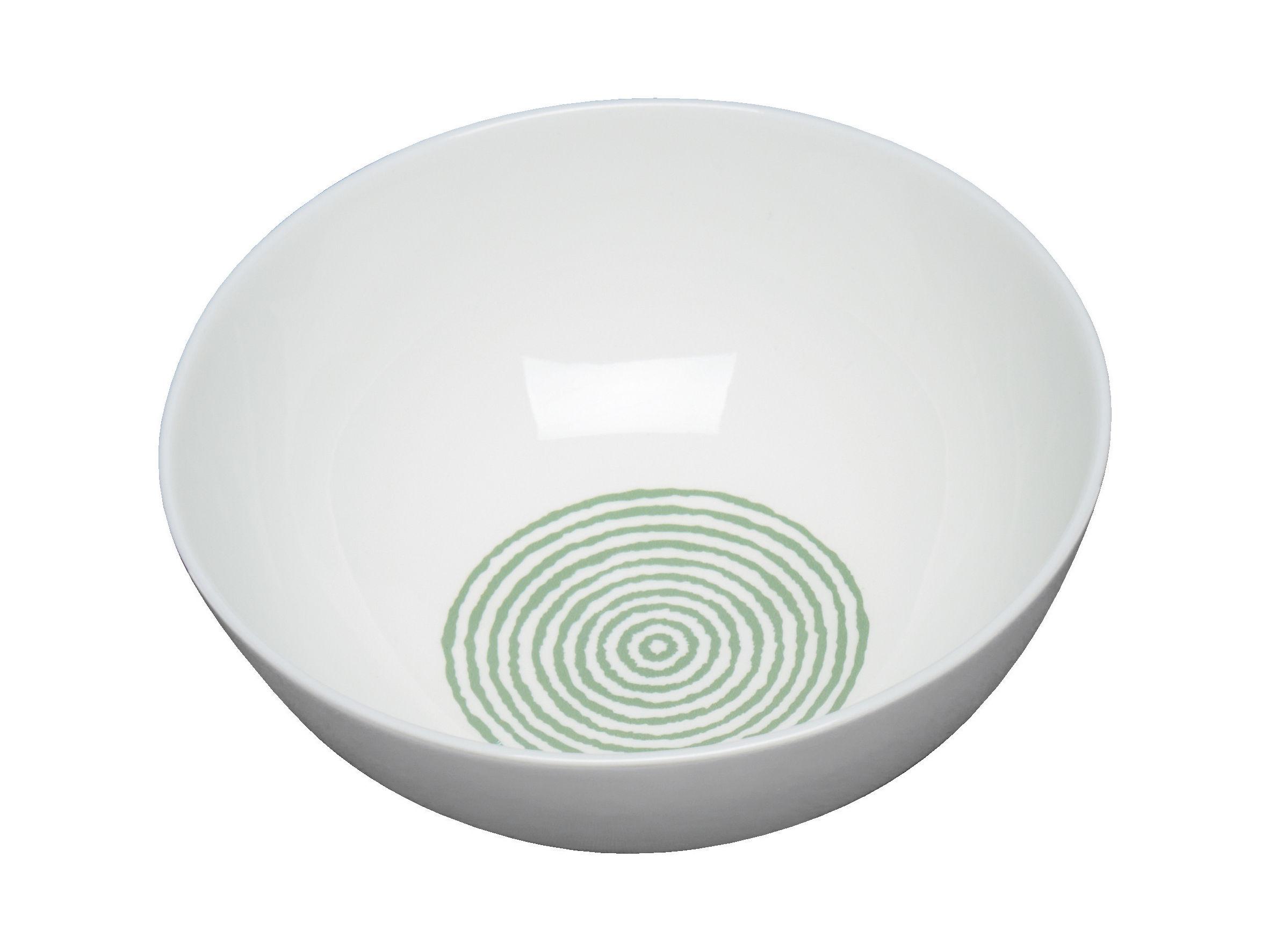 Arts de la table - Saladiers, coupes et bols - Bol Acquerello Ø 16,5 cm - A di Alessi - Blanc & vert - Porcelaine Bone China