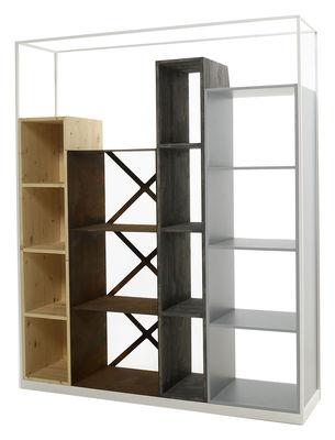Furniture - Bookcases & Bookshelves - Industry Bookcase - L 153 x H 186 cm by Casamania - Blanc / Natural fir, dark fir, Corten steel & grey MDF - Fir-tree, Lacquered MDF, Steel