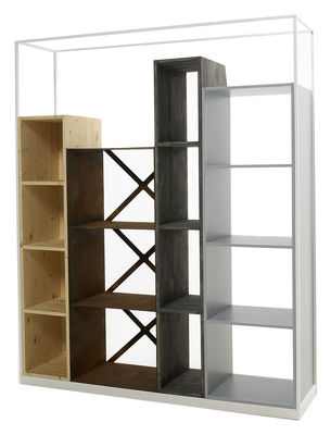 Furniture - Bookcases & Bookshelves - Industry Bookcase - L 153 x H 186 cm by Casamania - Blanc / Natural fir, dark fir, Corten steel & grey MDF - Fir-tree, Lacquered MDF, Steel
