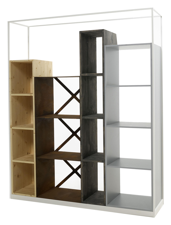 Möbel - Regale und Bücherregale - Industry Bücherregal L 153 cm x H 186 cm - Casamania - Weiß / Tanne natur, Tanne dunkel, patiniertes Metall und MDF grau - lackierte Holzfaserplatte, Sapin, Stahl