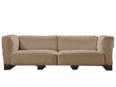 Canapé droit Pop Duo / structure noire - L 255 cm - Kartell gris tourterelle en tissu