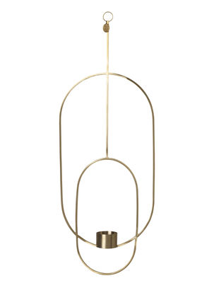 Decoration - Candles & Candle Holders - Oval Candlestick to hang - /  L 18 x H 50 cm by Ferm Living - Brass - Solid brass