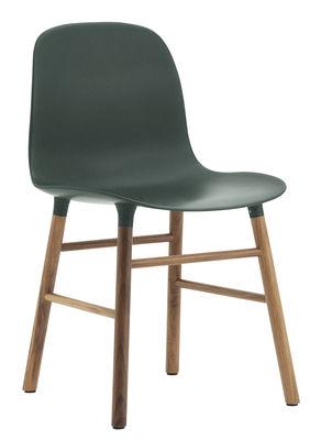 Furniture - Chairs - Form Chair - Walnut leg by Normann Copenhagen - Green /  walnut - Polypropylene, Walnut