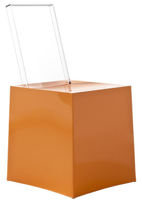Furniture - Chairs - Miss Less Chair - Plastic / Transparent backrest by Kartell - Orange / Crystal - Polycarbonate, Technopolymer