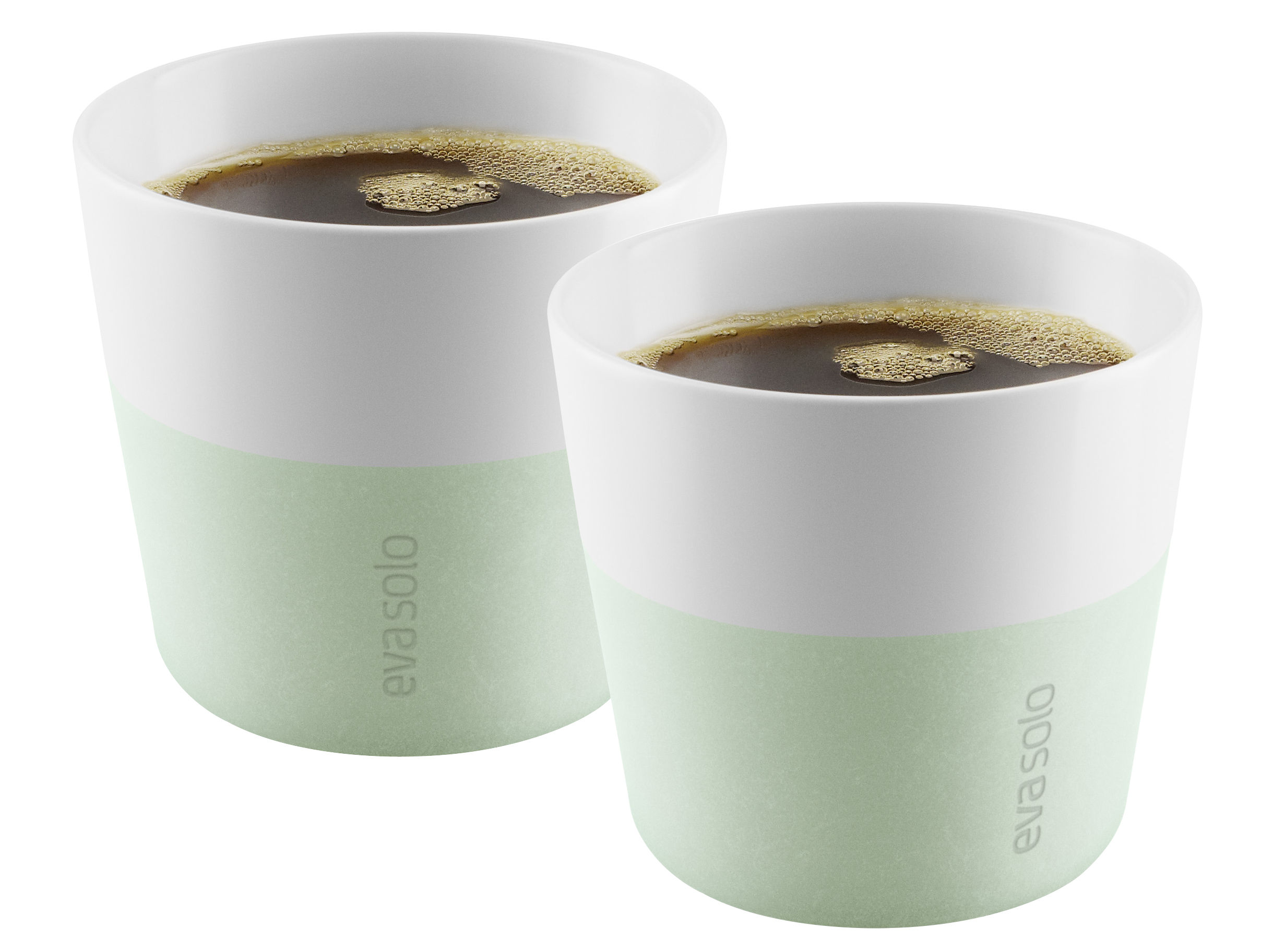Tableware - Coffee Mugs & Tea Cups - Lungo Cup - / Set of 2 - 230 ml by Eva Solo - Eucalyptus green - China, Silicone
