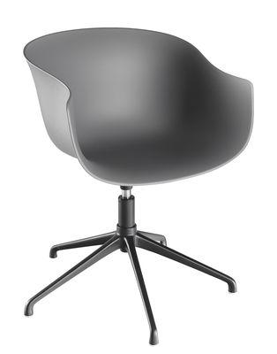 Mobilier - Chaises, fauteuils de salle à manger - Fauteuil pivotant Bai / Coque plastique - 4 pieds métal - Ondarreta - Anthracite - Acier, Polypropylène