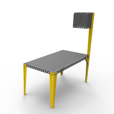 Lighting - Floor lamps - Floor lamp - H 180 cm / To screw on Meccano tables by Meccano Home - Grey / Yellow leg - Painted steel