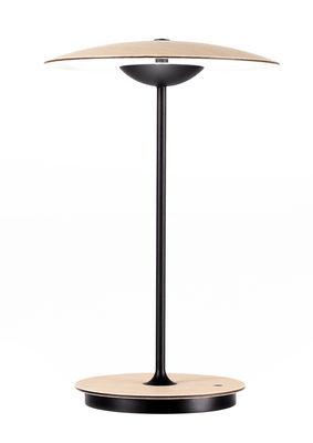 Image of Lampada senza fili Ginger LED / H 30 cm - Legno & metallo - Marset - Nero/Legno naturale - Metallo/Legno