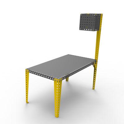 Luminaire - Lampadaires - Lampadaire à visser sur tables Meccano / H 180 cm - Meccano Home - Gris / Pied jaune - Acier peint
