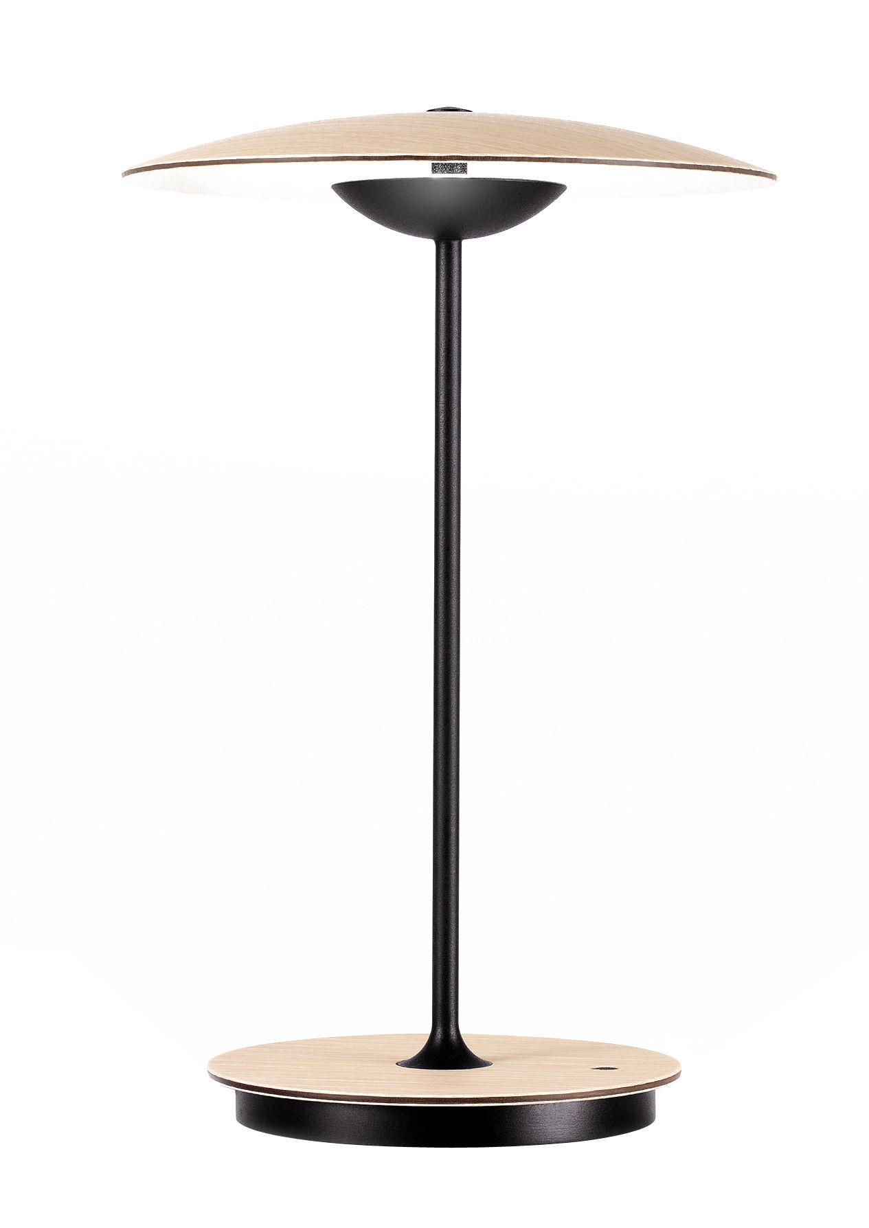 Luminaire - Lampes de table - Lampe sans fil Ginger LED / H 30 cm - Bois & métal - Marset - Chêne & noir - Contreplaqué de chêne, Métal laqué