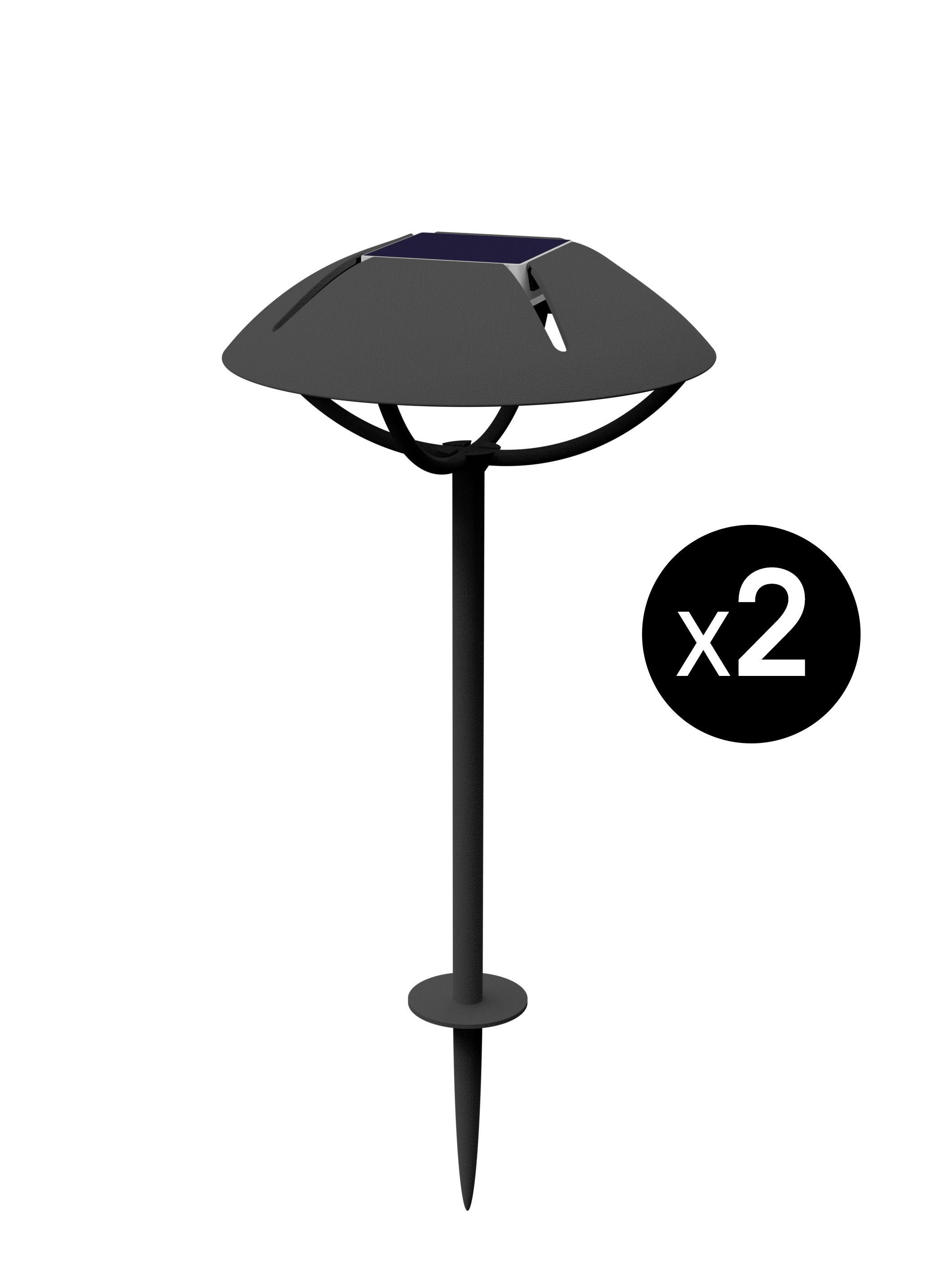 Luminaire - Luminaires d'extérieur - Lampe solaire Parabole LED / Dock USB - à planter - Lot de 2 - Maiori - Charbon - Aluminium laqué