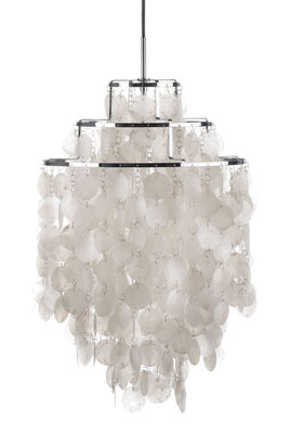 Lighting - Pendant Lighting - Fun 1DM Pendant - Ø 45 cm - Panton 1964 by Verpan - Ø 45 cm - Mother-of-pearl & Chrome - Metal, Pearly