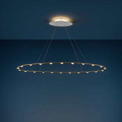Lighting - Pendant Lighting - Petites Lentilles Pendant - / LED - 120 x 60 cm by Catellani & Smith - Brass - Brass, Glass