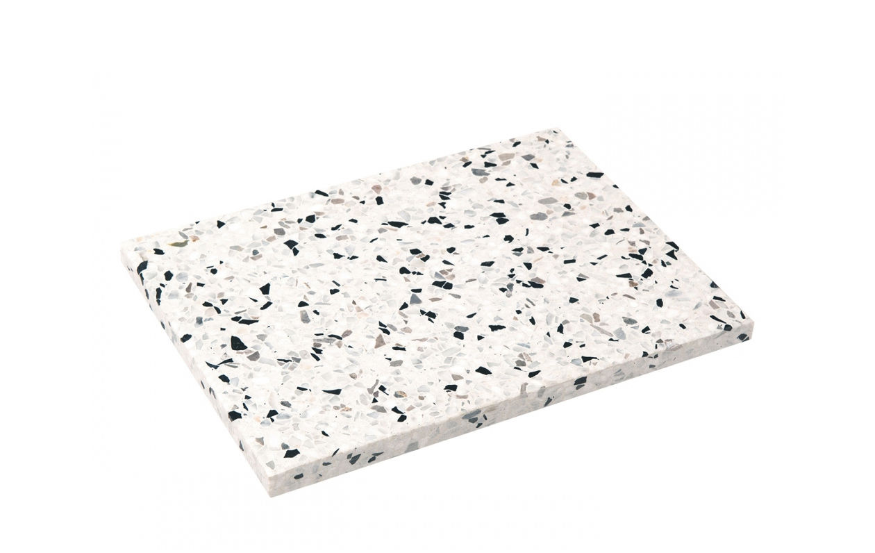 Arts de la table - Plateaux - Plateau Confetti Large / Dessous de plat - 27 x 20 cm - OK Design pour Sentou Edition - Noir & blanc - Terrazzo