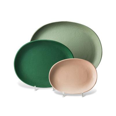 Déco - Corbeilles, centres de table, vide-poches - Plateau Greek / Set de 3 - Métal / 43,5 x 37  cm - Pols Potten - Tons verts - Aluminium laqué