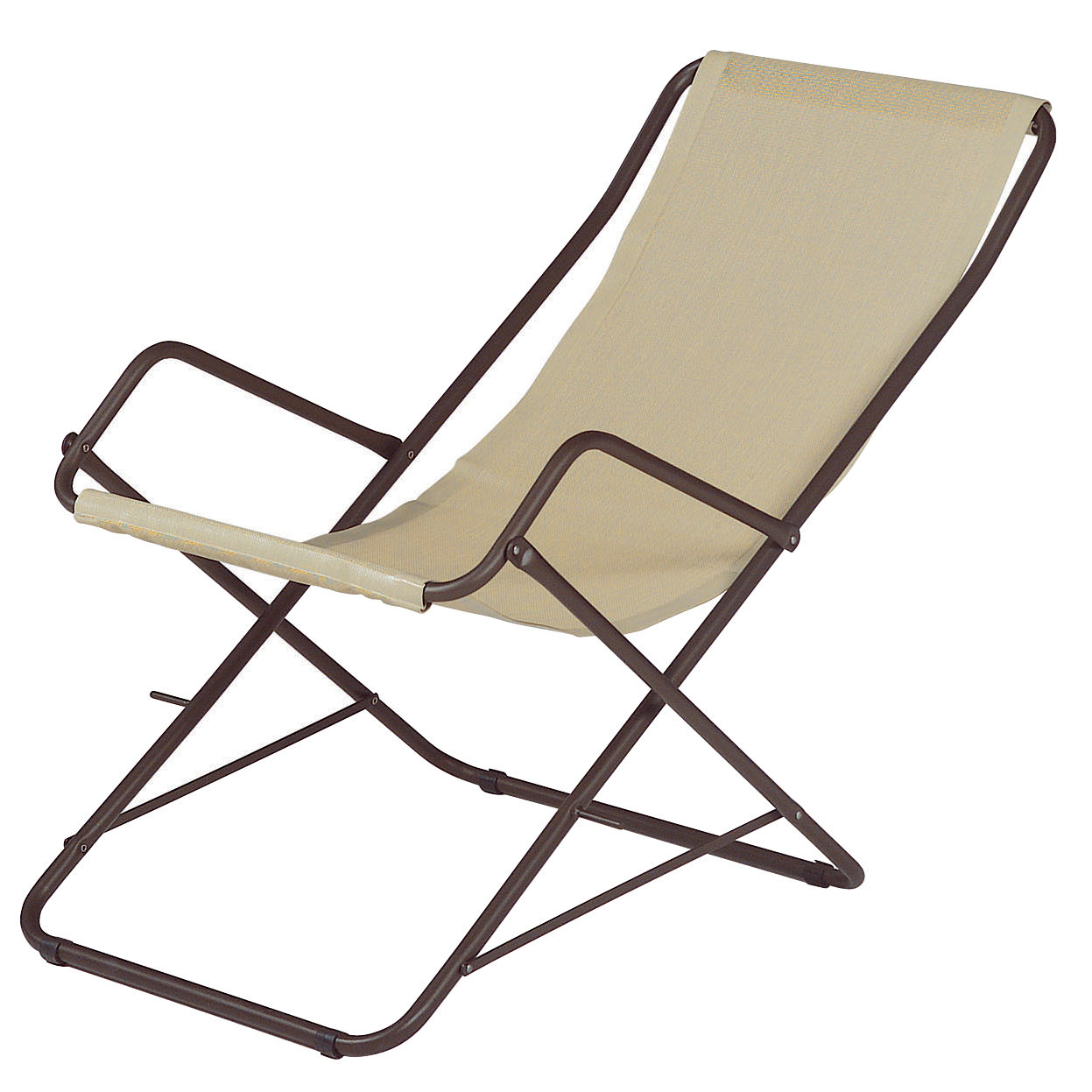 Outdoor - Sun Loungers & Hammocks - Bahama Reclining chair - Foldable by Emu - Beige / Bronze structure - Cloth, Varnished steel