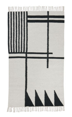 Decoration - Rugs - Kelim Black Lines - Small Rug - 80 x 140 cm by Ferm Living - Dark green & white - Cotton, Wool