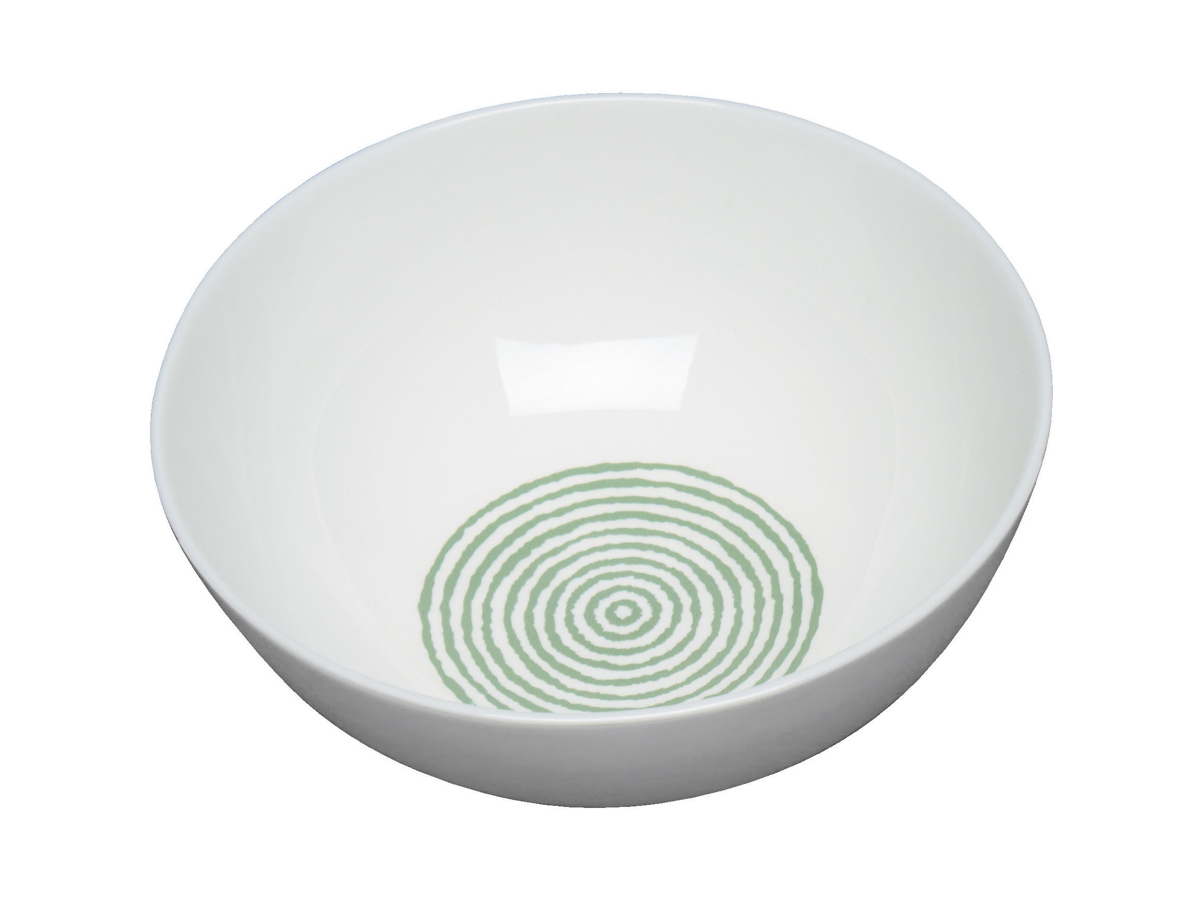 Tischkultur - Salatschüsseln und Schalen - Acquerello Schale Ø 16,5 cm - A di Alessi - Weiß & grün - chinesisches Weich-Porzellan