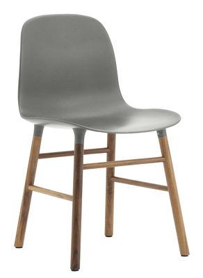 Image of Sedia Form - / Gambe in noce di Normann Copenhagen - Grigio,Noce - Materiale plastico