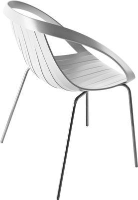 Möbel - Stühle  - Impossible Wood Sessel / Kunststoff in Holzoptik & Stuhlbeine aus Metall - Moroso - Stuhlbeine verchromt - Sitzfläche altweiß - Holz, Polypropylen, Stahl