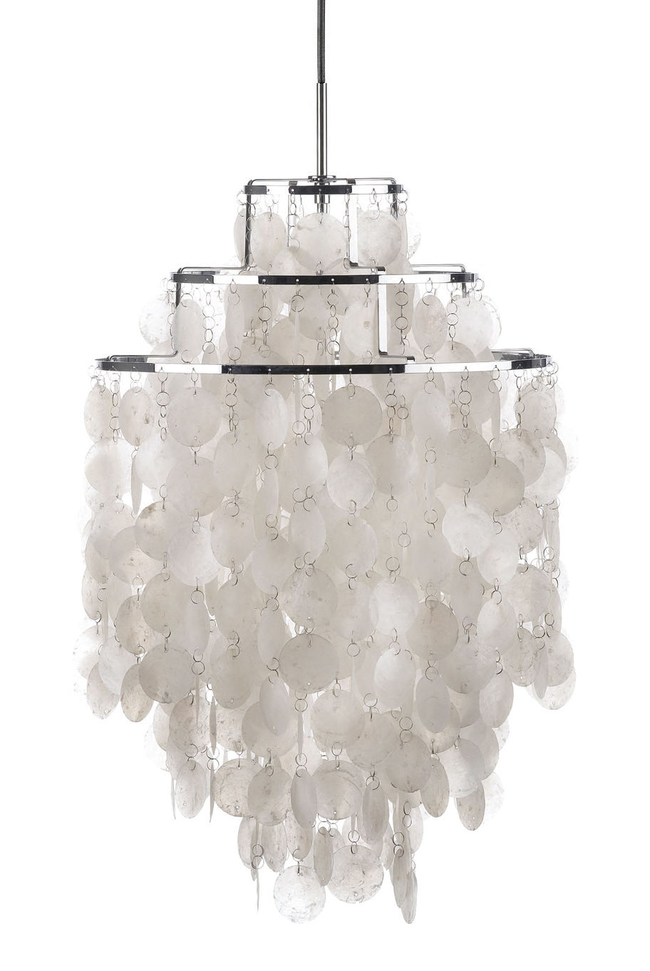 Illuminazione - Lampadari - Sospensione Fun 1DM - Ø 45 cm - Panton 1964 di Verpan - Ø 45 cm - Madreperla e acciaio cromato - Madreperla, Metallo