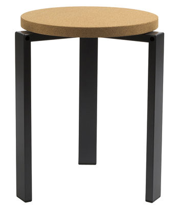 Furniture - Stools - Stanley Stackable stool by Hay - Dark Grey - Cork, Lacquered steel