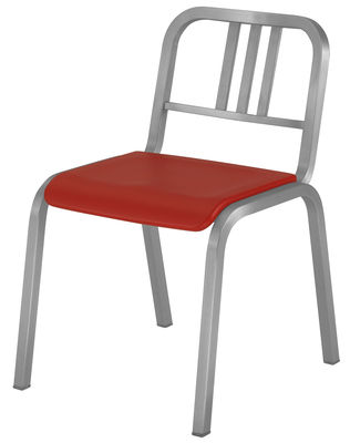 Furniture - Chairs - Nine-O Stacking chair - Aluminium & polyurethane seat by Emeco - Brushed aluminium / Red - Aluminium, Polyurethane