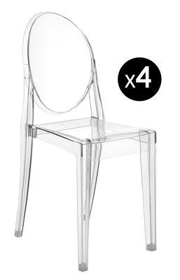 Möbel - Stühle  - Victoria Ghost Stapelbarer Stuhl Set mit 4 Stühlen - Kartell - Kristall - Polykarbonat