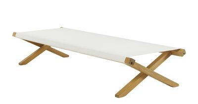 Outdoor - Sun Loungers & Hammocks - Elit Sun lounger - / Folding by Ethimo - Ivory & teak - Acrylic fabric