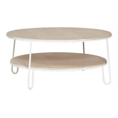 Mobilier - Tables basses - Table basse Eugénie Large / Chêne - Ø 90 - Hartô - Blanc / Chêne - Acier laqué époxy, MDF plaqué chêne