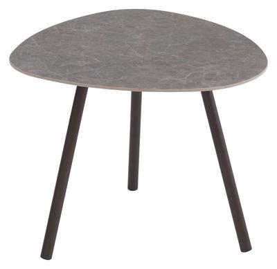 Mobilier - Tables basses - Table basse Terramare / Grès effet béton - 48 x 48 cm - Emu - Effet béton anthracite / Pieds marron d'Inde - Aluminium verni, Grés porcelainé