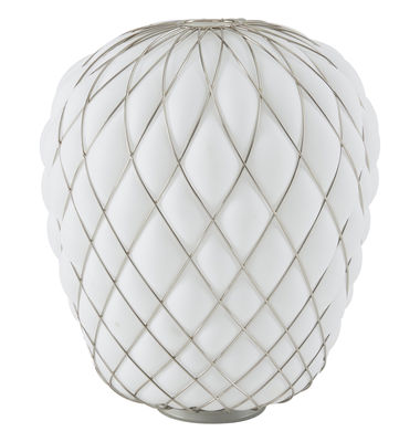 Lighting - Table Lamps - Pinecone Table lamp - H 52 cm - Glass & metal mesh by Fontana Arte - White / Gold mesh - Metal, Mouth blown glass
