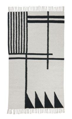 Déco - Tapis - Tapis Kelim Black Lines - Small / 80 x 140 cm - Ferm Living - 80 x 140 cm / Vert foncé & blanc - Coton, Laine