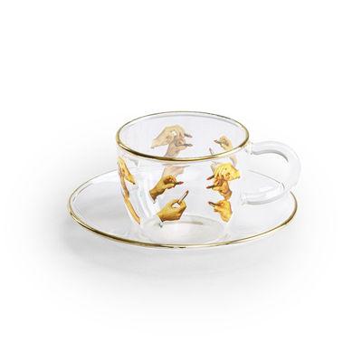 Tasse à café Toiletpaper - Lipsticks - Seletti multicolore,or,transparent en verre