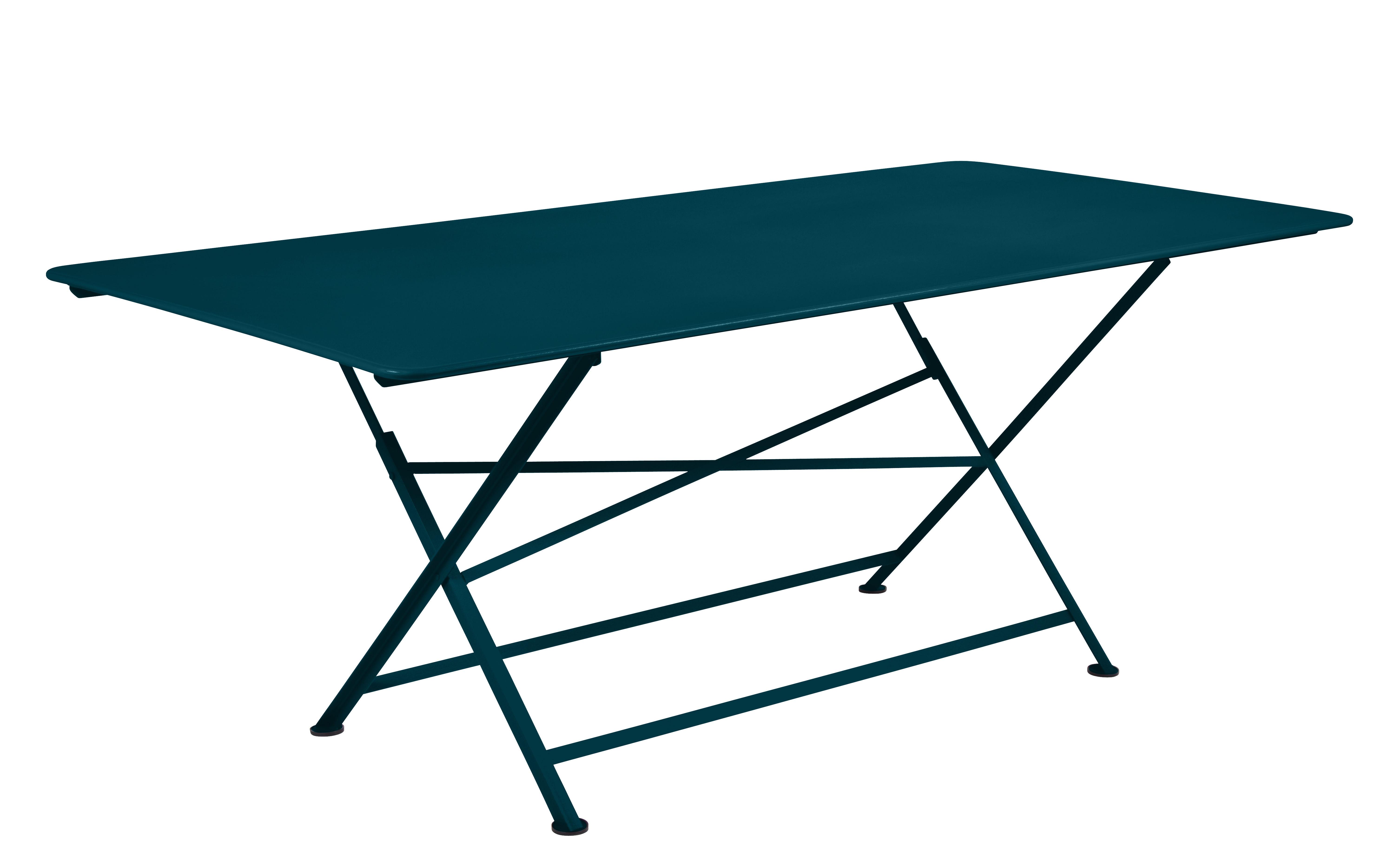 Outdoor - Tavoli  - Tavolo pieghevole Cargo - / 90 x 190 cm di Fermob - Blu Acapulco - Acciaio laccato