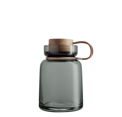Kitchenware - Kitchen Storage Jars - Silhouette Airtight jar - / 0.7L - Leather, wood & glass by Eva Solo - 0.7L / Grey - Leather, Mouth blown glass, Oak, Silicone